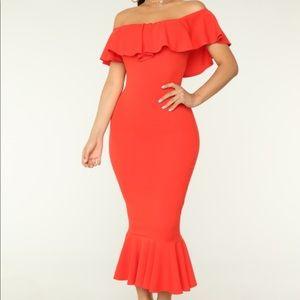 Fashion nova coral red dress